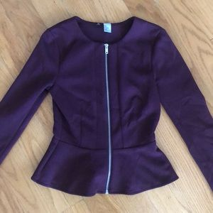 H&M dark purple peplum blazer